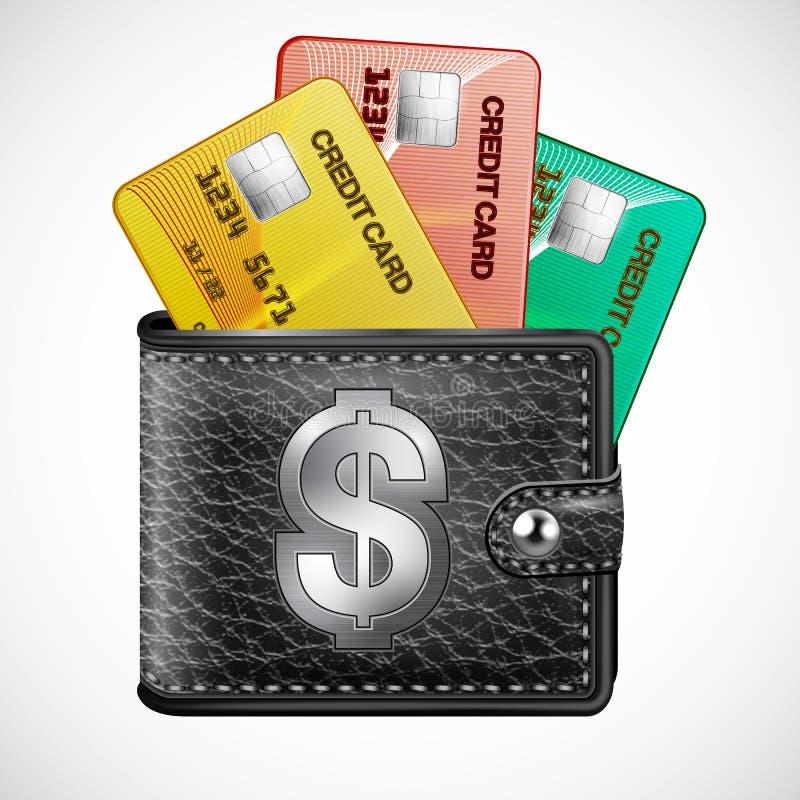 Carteira de couro com cartões de crédito e dólares dos EUA ilustração royalty free