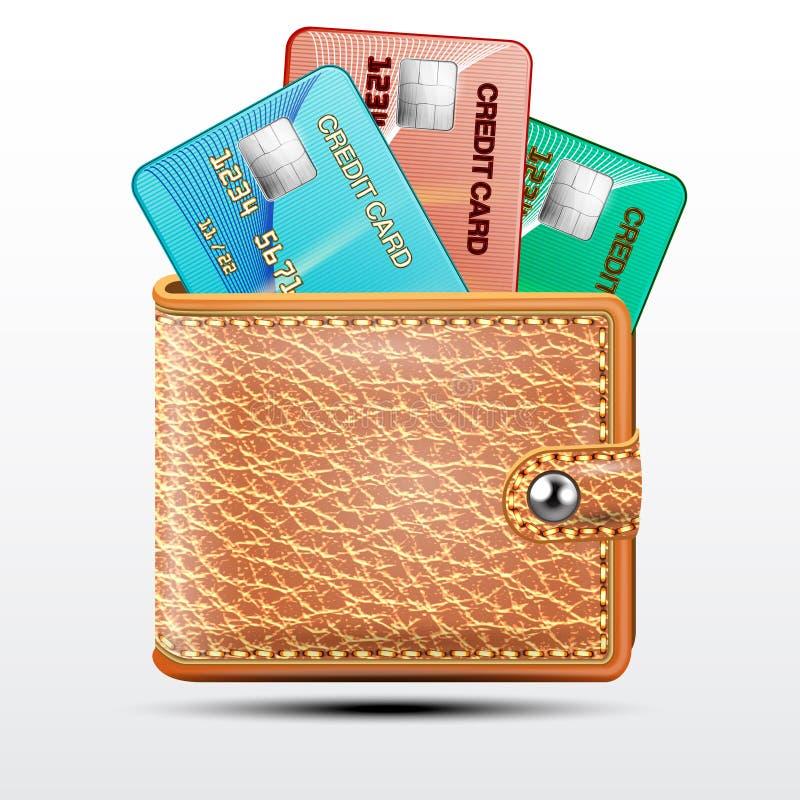 Carteira de couro com cartões de crédito em um fundo branco ilustração do vetor