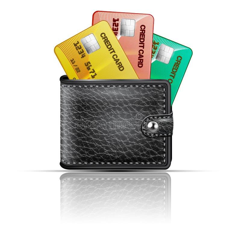 Carteira de couro com cartões de crédito em um fundo branco Vetor ilustração do vetor
