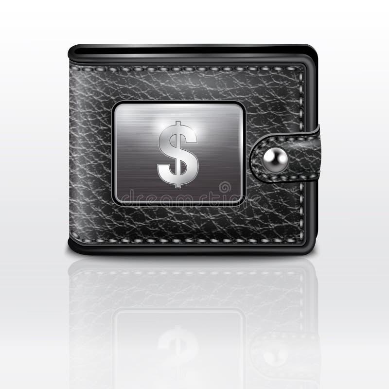 Carteira de couro com dólar EUA ilustração royalty free