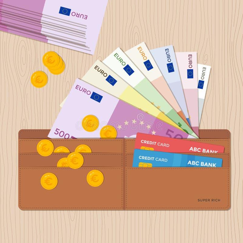 Carteira de couro completamente de euro- moedas das cédulas e cartões de crédito Projeto liso ilustração royalty free