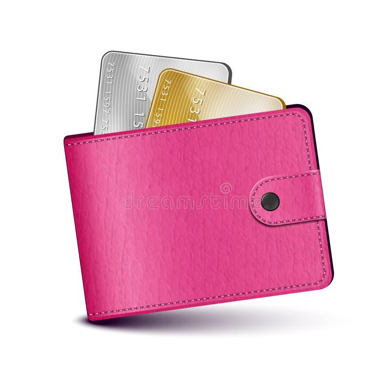 Carteira de couro cor-de-rosa ilustração stock