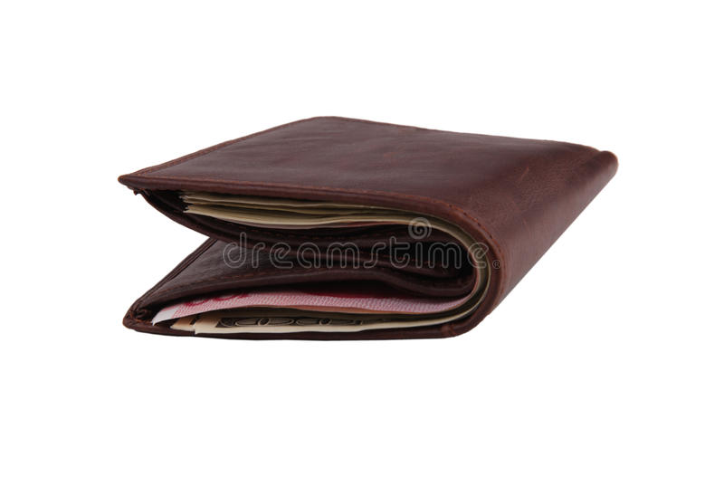 Carteira de couro de Brown enchida com as notas de banco fotos de stock