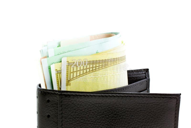 Carteira de couro preta com euro- notas imagens de stock