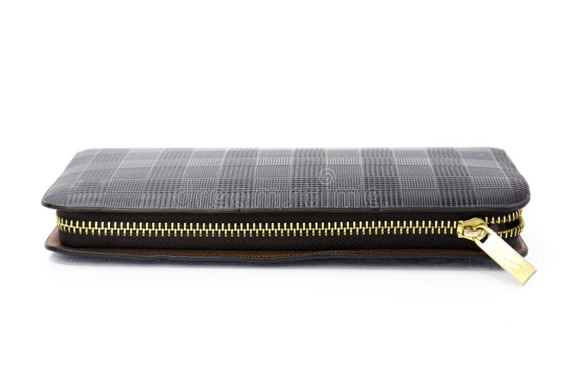 Carteira de couro preta com zíper imagem de stock