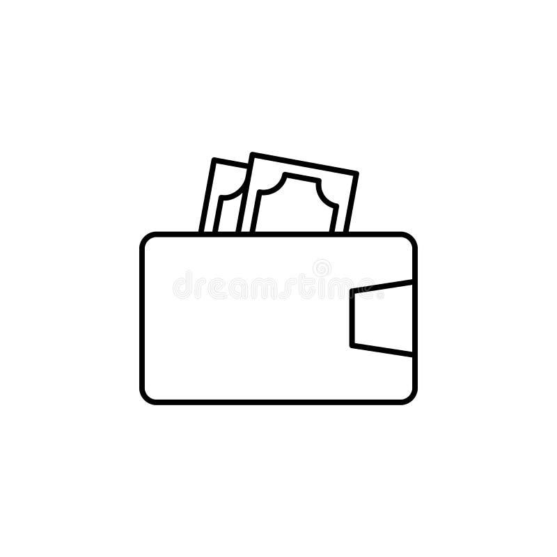 Carteira, dinheiro, ícone do dinheiro Elemento da ilustração da finança Os sinais e o ícone dos símbolos podem ser usados para a  ilustração do vetor