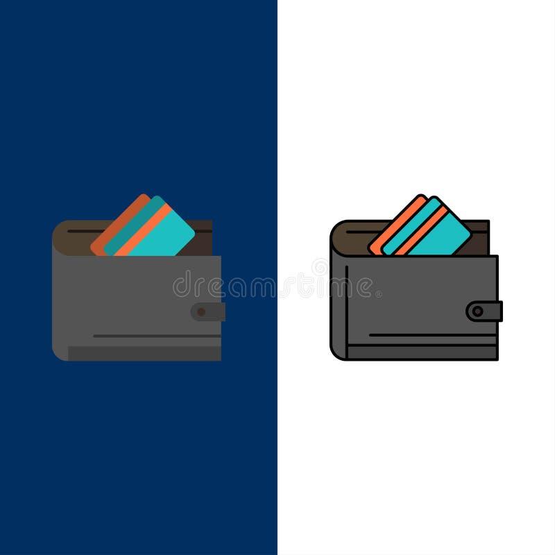 Carteira, dinheiro, cartão de crédito, dólar, finança, ícones do dinheiro O plano e a linha ícone enchido ajustaram o fundo azul  ilustração do vetor