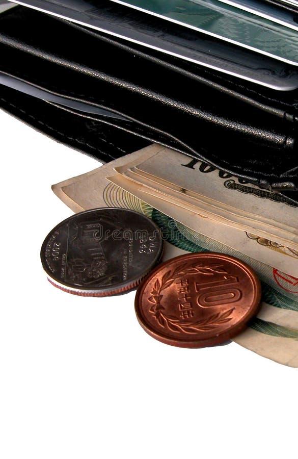 Carteira e algum dinheiro imagens de stock royalty free