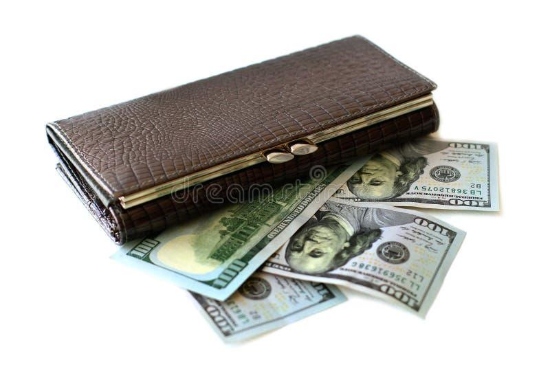 Carteira e cem notas de dólar fotos de stock