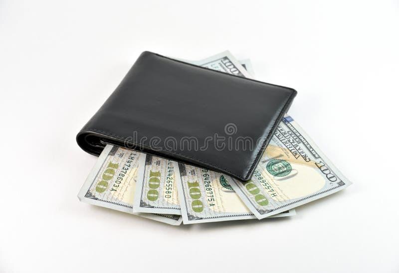 Carteira e dólares fotografia de stock