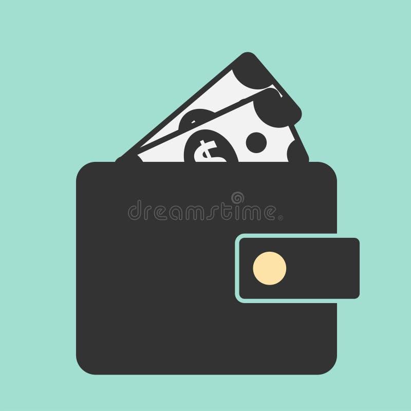 Carteira e dólares da ilustração Símbolo liso do vetor para o projeto ilustração stock