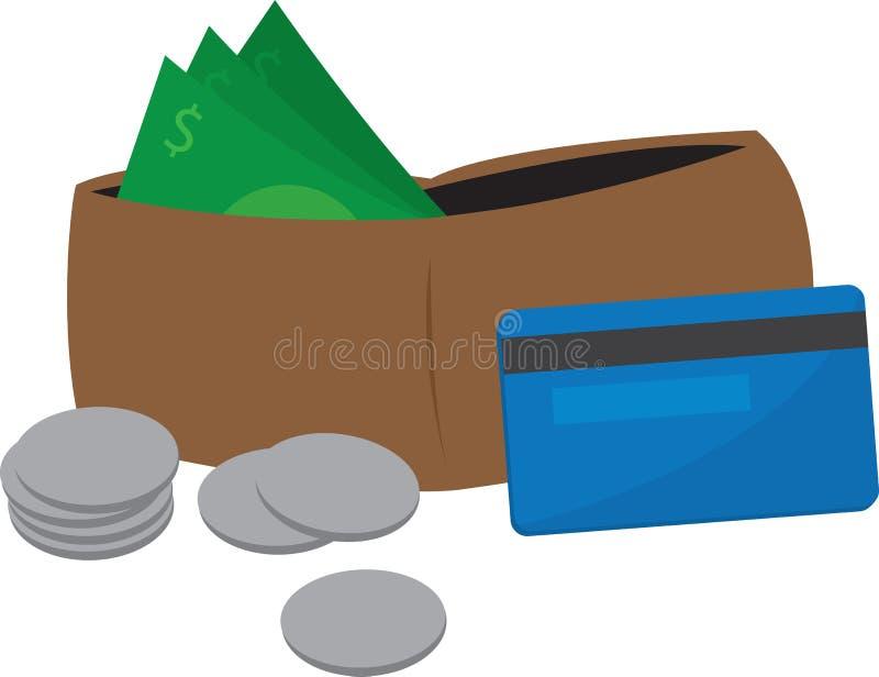 Carteira e dinheiro ilustração stock