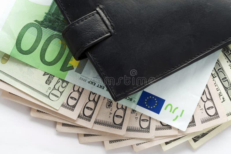 Carteira e dinheiro imagens de stock