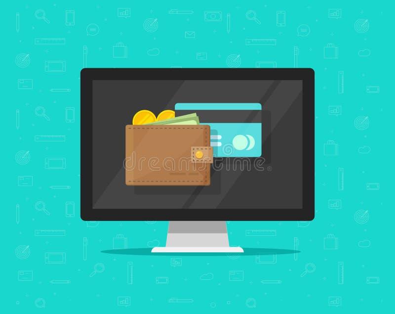 Carteira eletrônica no ícone da ilustração do vetor do computador, tela lisa do computador de secretária dos desenhos animados co ilustração royalty free