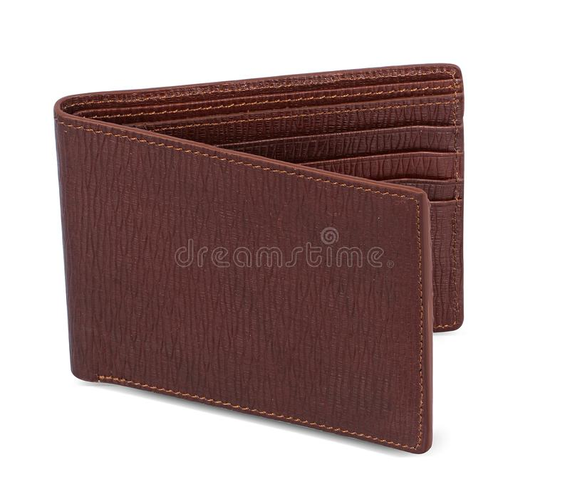 Carteira marrom segura e fresca com titular do cartão imagens de stock royalty free