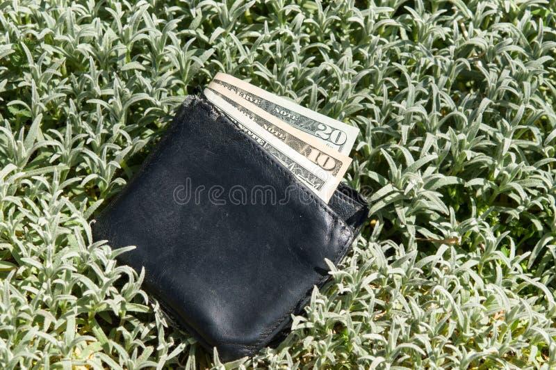 Carteira perdida com dinheiro imagem de stock royalty free