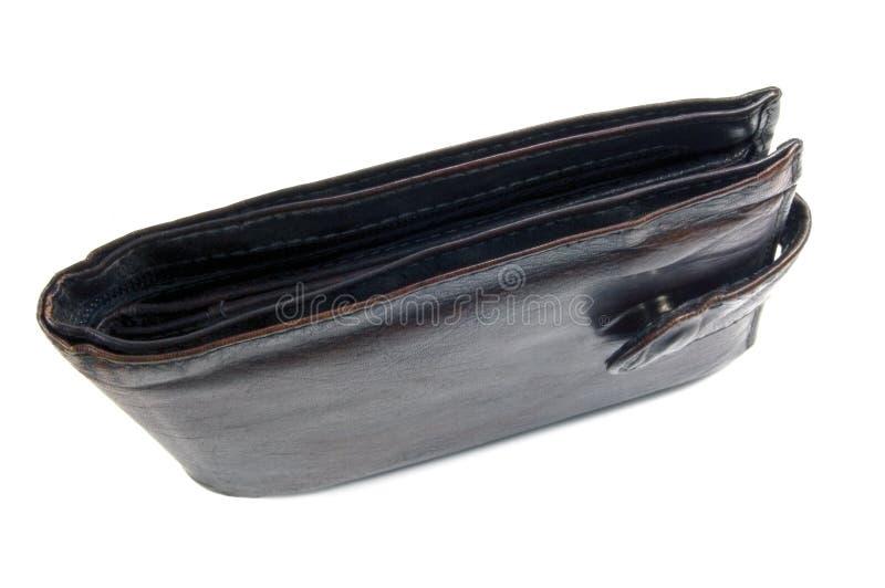Carteira preta acastanhada suja desgastada velha, isolada fotografia de stock royalty free