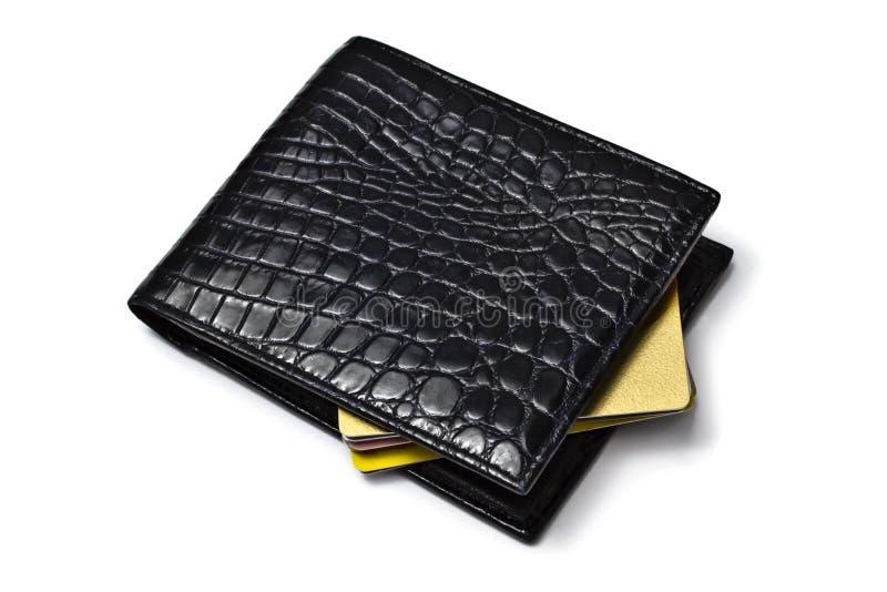 Carteira preta com cartões de crédito imagem de stock
