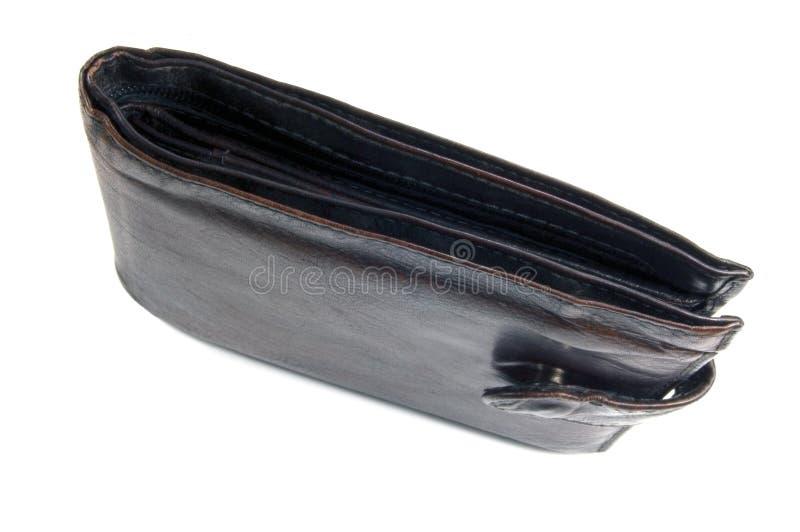 Carteira preta suja vestida envelhecida velha do couro do grunge, close up vertical isolado, grande tiro detalhado do estúdio imagem de stock royalty free