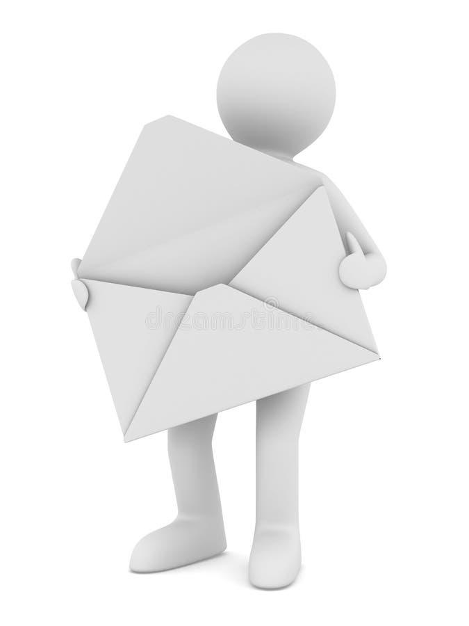 Carteiro com envelope aberto ilustração royalty free