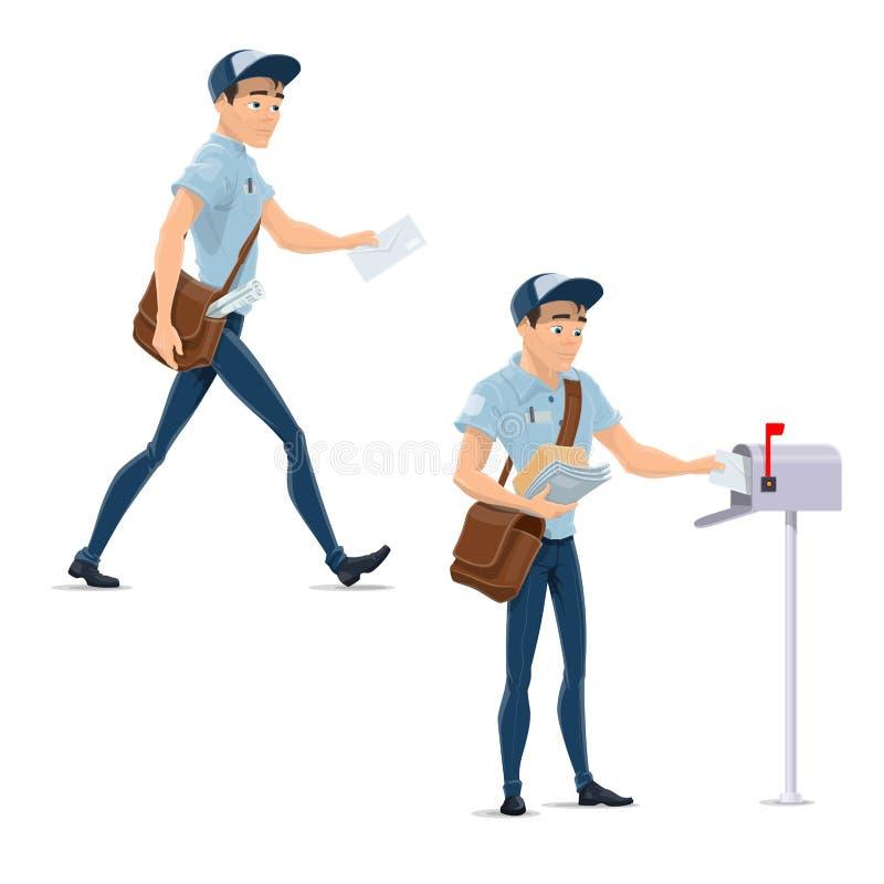 Carteiro do correio do cargo em ícones do vetor do trabalho da entrega ilustração do vetor