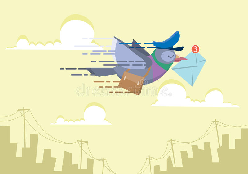 Carteiro do pombo que voa sobre o céu que envia a conceito do email a ilustração lisa do vetor ilustração stock