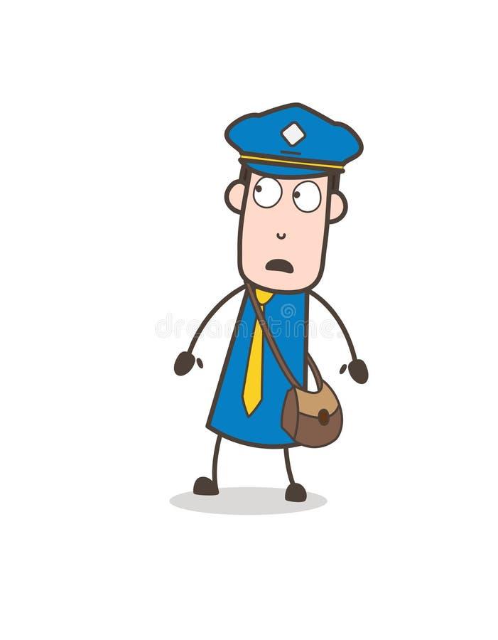 Carteiro temível Character Face Expression dos desenhos animados ilustração do vetor
