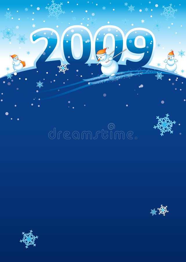 Cartel 2009 del Año Nuevo ilustración del vector