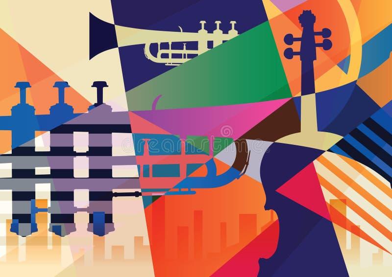 Cartel abstracto del jazz, fondo de la música libre illustration