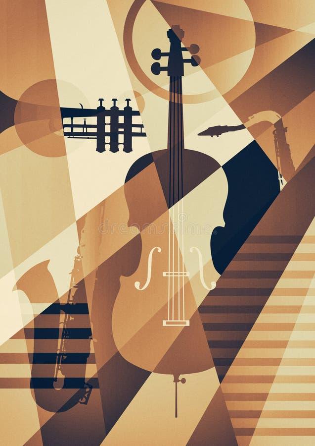 Cartel abstracto del jazz, fondo de la música stock de ilustración