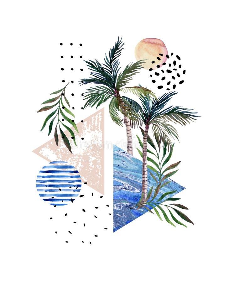 Cartel abstracto: palmeras de la acuarela, hojas, triángulos que vetean ilustración del vector