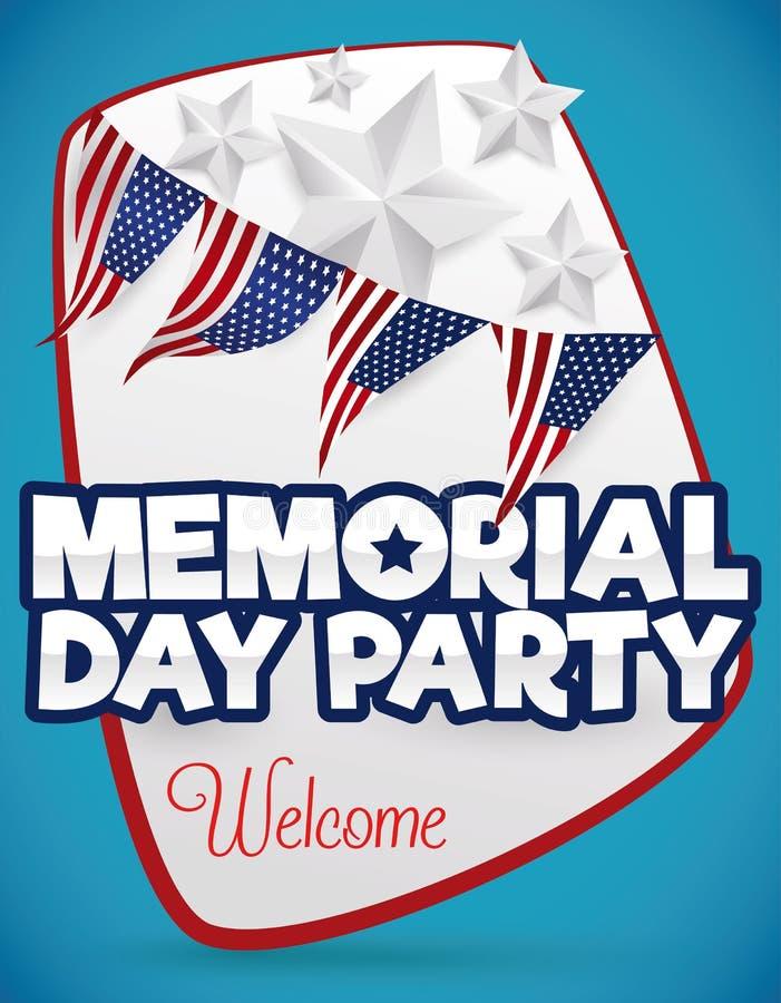 Cartel agradable para el partido de Memorial Day, ejemplo del vector stock de ilustración