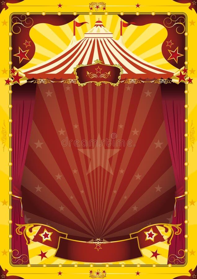 Cartel amarillo del circo de la tapa grande ilustración del vector