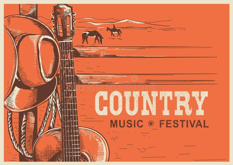 Cartel americano de la música country con el sombrero y la guitarra de vaquero ilustración del vector