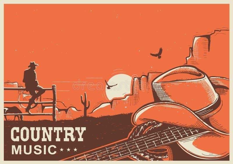Cartel americano de la música country con el sombrero y la guitarra de vaquero en tierra stock de ilustración