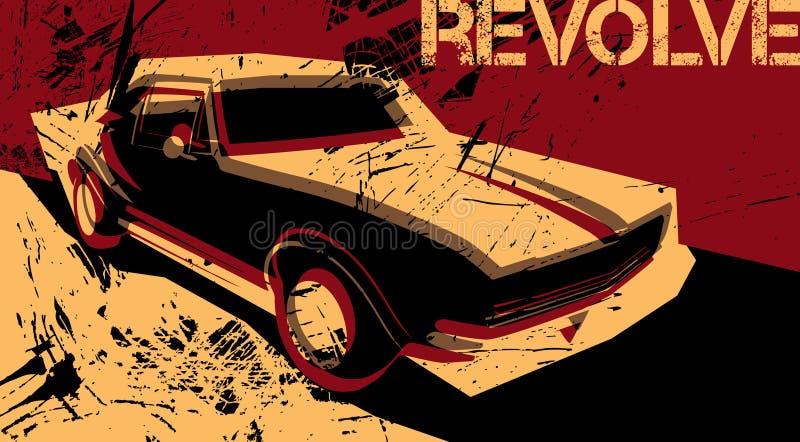 Cartel artístico con el coche stock de ilustración