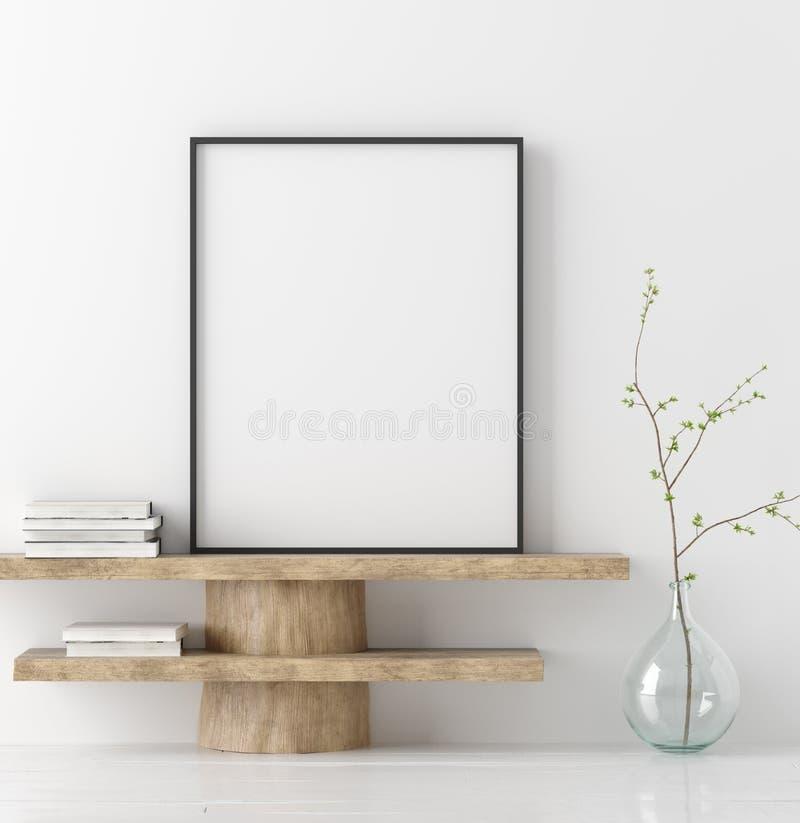 Cartel ascendente falso en banco de madera con la rama en florero imagen de archivo
