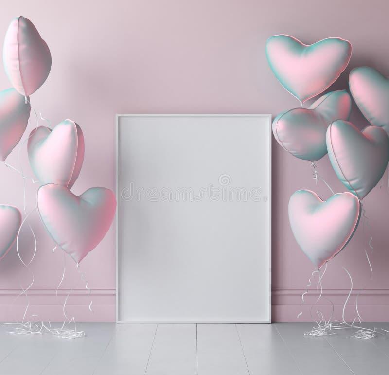 Cartel ascendente falso en fondo interior con los globos en colores pastel imágenes de archivo libres de regalías