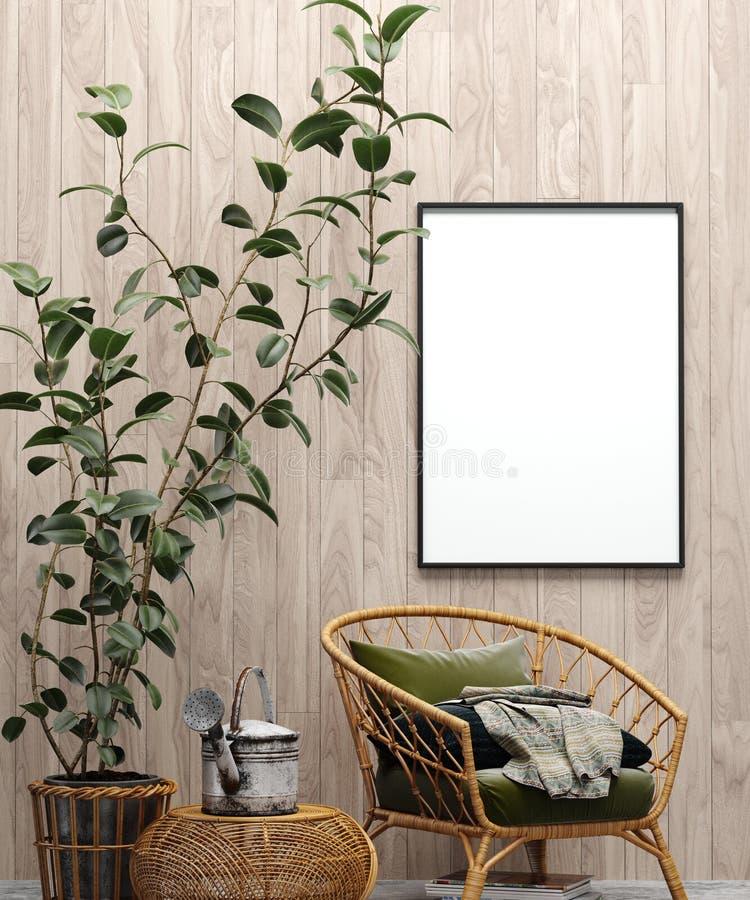 Cartel ascendente falso en fondo interior del jardín con la silla, la pared de madera y las plantas fotos de archivo libres de regalías