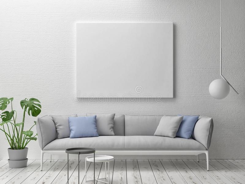 Cartel ascendente falso, interior escandinavo del concepto con el sofá ancho ilustración del vector
