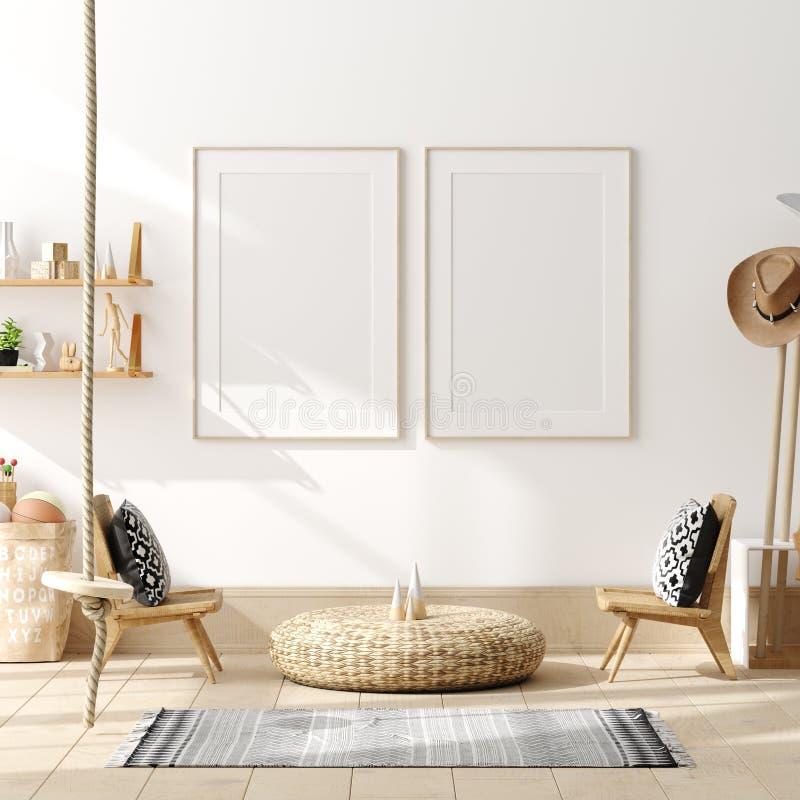 Cartel ascendente falso, pared en el fondo interior del dormitorio de los ni?os, estilo escandinavo foto de archivo libre de regalías