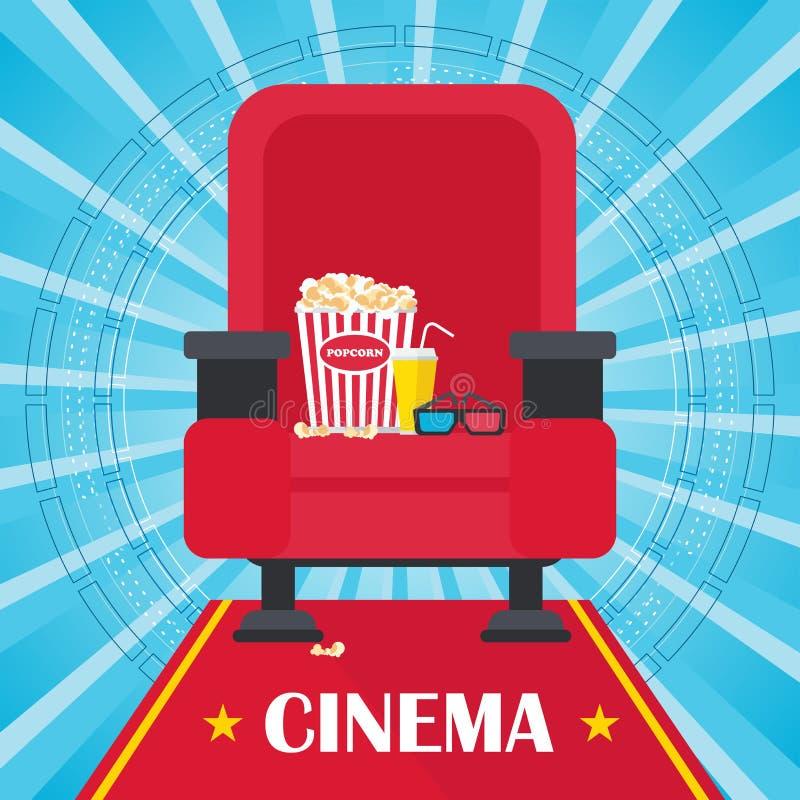 Cartel azul del cine stock de ilustración