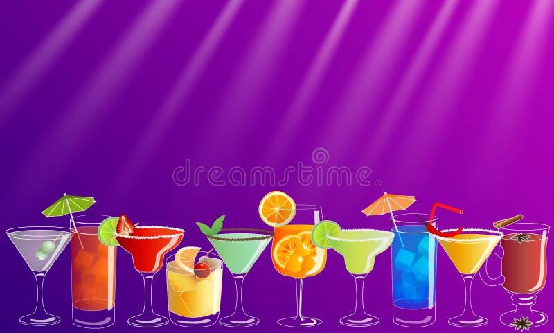 Cartel/bandera de la invitación del vector del cóctel con las bebidas exhaustas de la mano colorida stock de ilustración