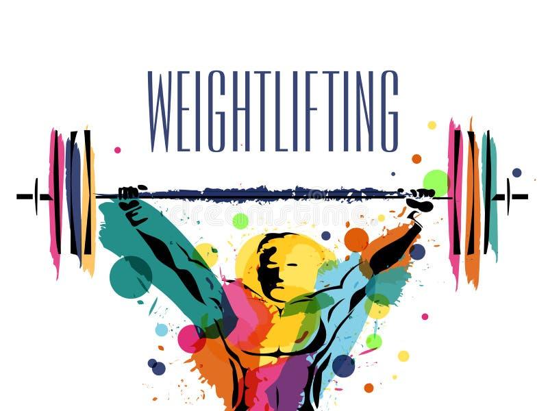 Cartel, bandera para el concepto de los deportes del levantamiento de pesas ilustración del vector