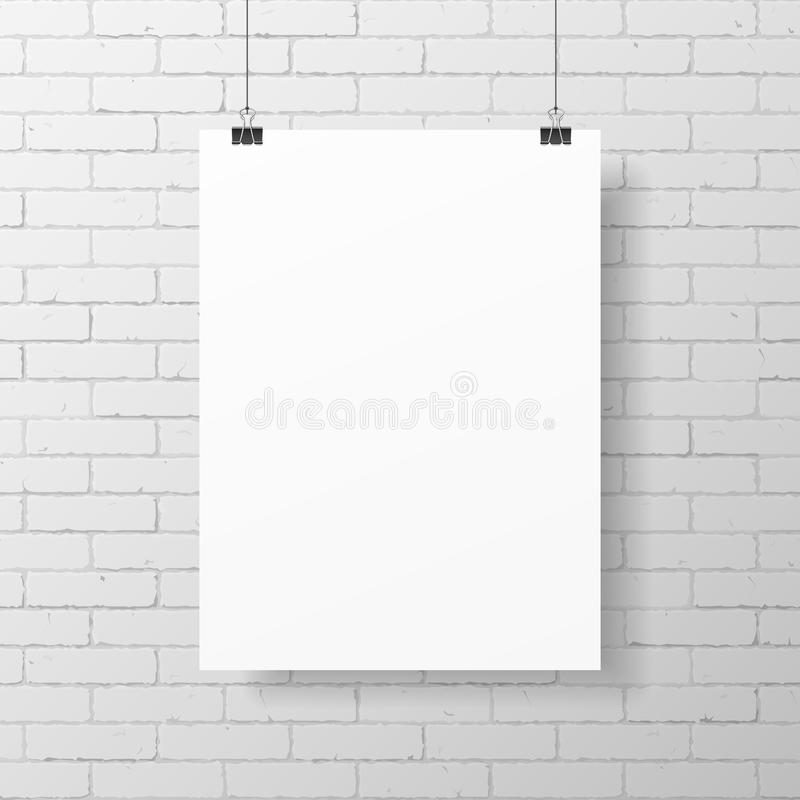 Cartel blanco en blanco en la pared de ladrillo stock de ilustración