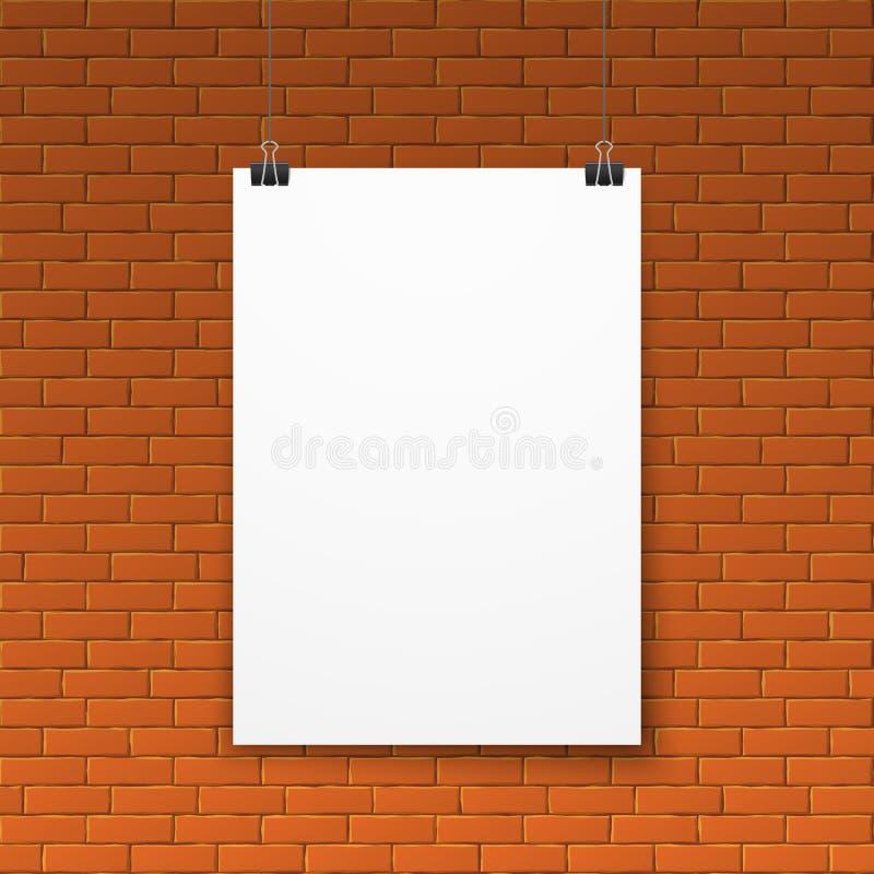 Cartel blanco en blanco en la pared de ladrillo roja libre illustration