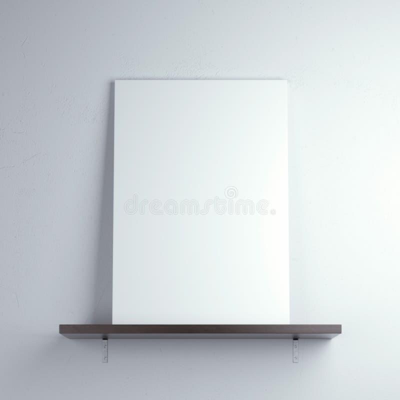 Cartel blanco en un estante fotografía de archivo