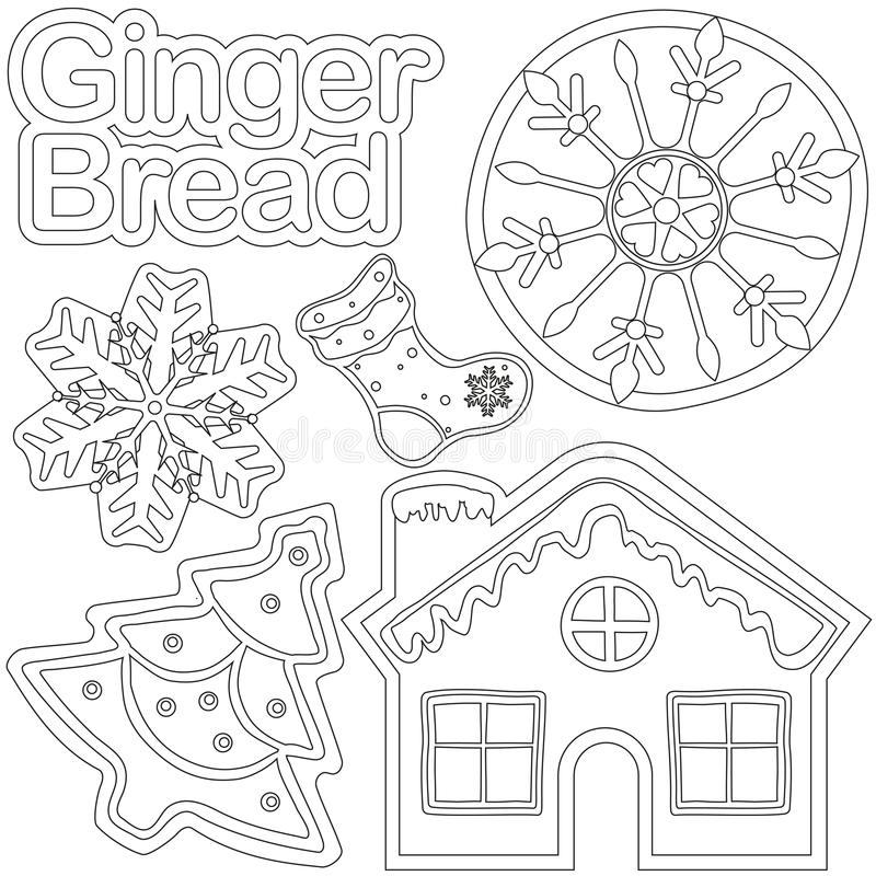 Cartel blanco y negro del pan del jengibre - casa, zapato, árbol de Navidad, copo de nieve ilustración del vector