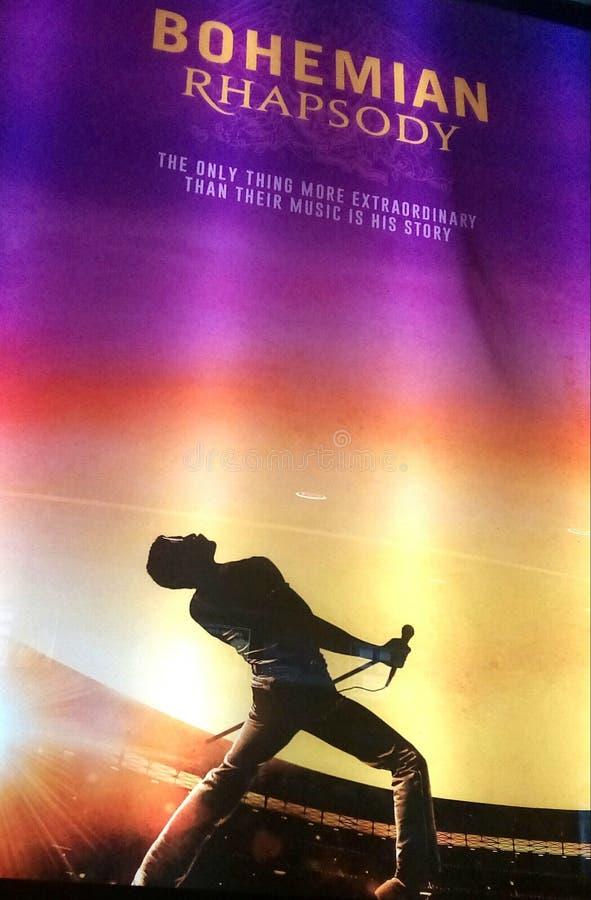 Cartel bohemio de la promoción de la película de la reina de la rapsodia imagenes de archivo