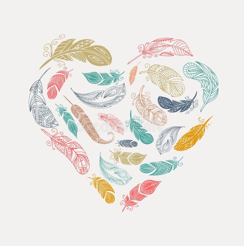 Cartel bohemio del estilo con las plumas coloridas gitanas, dispuestas en corazón ilustración del vector